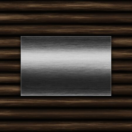 Grunge metal plate on an old wood texture background