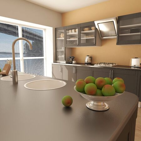 3D render of a contemporary kitchen interior Imagens