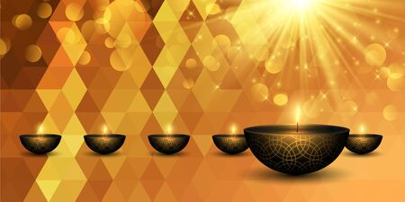 Diwali background with decorative lamps on a low banner design