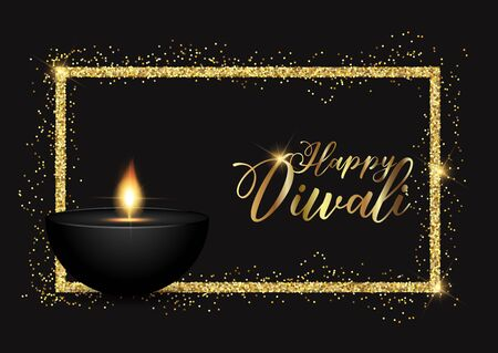 Diwali lamp background with gold glittery border