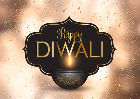 Happy Diwali background with gold confetti and decorative lamp