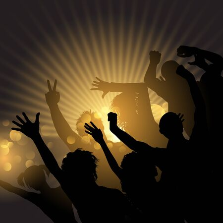 Silhouette of a party crowd on a starburst background Фото со стока