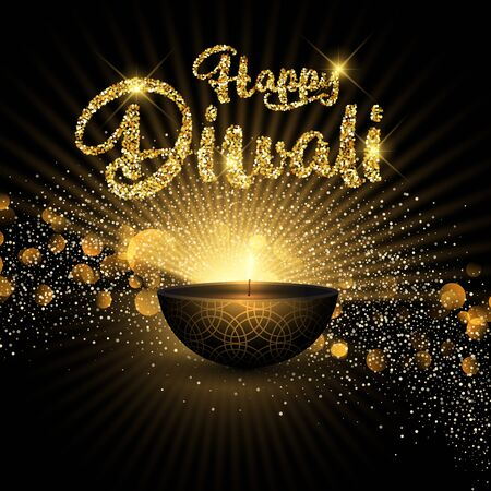 Decorative Diwali background with glitter design