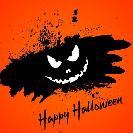Halloween background with pumpkin face on a grunge splat design Banco de Imagens - 129893712