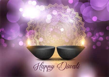 Decorative Diwali background with lamps and bokeh lights design