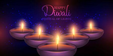 Decorative Diwali lamps banner design