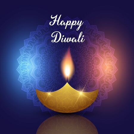 Diwali background with oil lamp on a decorative mandala design