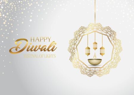 Decorative Diwali background with hanging lanterns and oil lamp