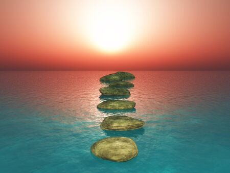 3D render of stepping stones in a sunset ocean