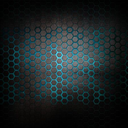 Grunge metal background with hexagonal pattern Banco de Imagens - 131083755