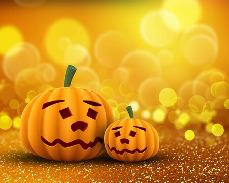 3D render of cute pumpkins on a glittery bokeh lights background Stok Fotoğraf