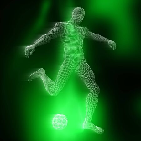 3D render of a male footballer figure with wireframe design Stock Photo