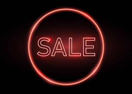 Sale sign with a glowing neon effect 写真素材