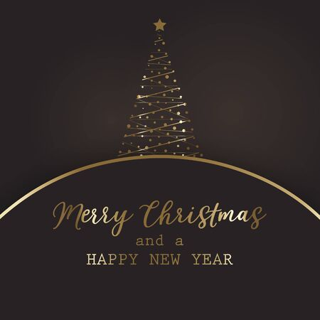 Christma background with decorative gold tree