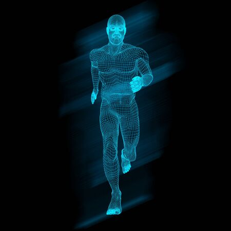 3D render of a male figure in running pose with wireframe design