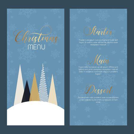 Decorative double sided Christmas menu design