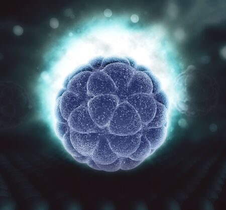 3D render of a medical background with glowing abstract virus cell