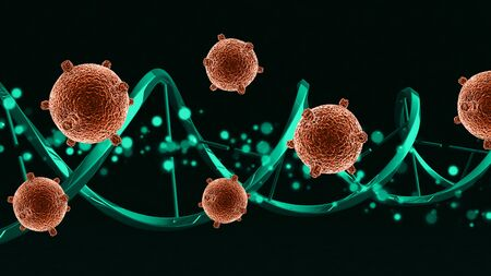 3D render of a medical background with abstract virus cells on a DNA strand