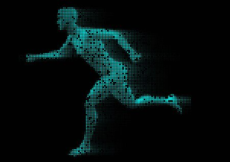 Male figure running with pixelated design