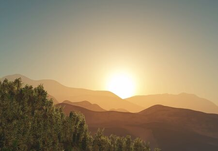3D render of a tree and mountain landscape against a sunset sky
