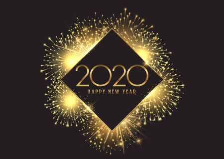 Happy New Year background with a golden fireworks design