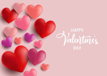 Valentine's Day background with 3D style hearts design Stock Photo - 137496374