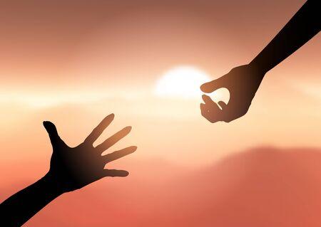 Silhouette di mani protese per aiutarsi a vicenda