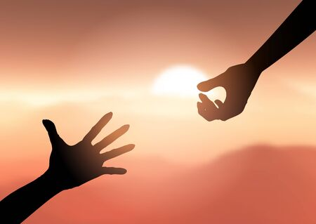 Silhouette of hands reaching out to help each other