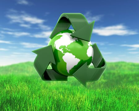 3D render of a globe with recycling symbol on grass and sky landscape Archivio Fotografico