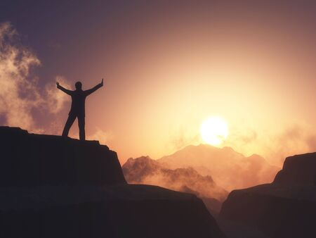 3D render of a male figure with arms raised stood on mountain against sunset sky Foto de archivo