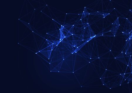 Abstract modern background with glowing connecting lines and dots Stock fotó