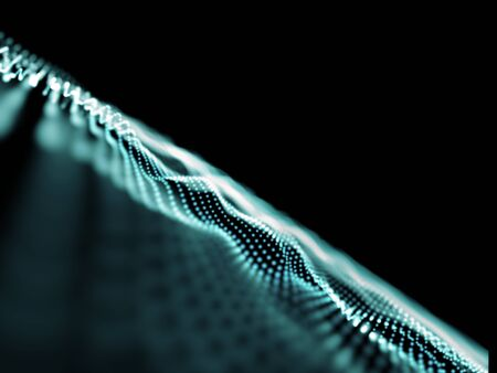 3D render of an abstract connections background, flowing dots with shallow depth of field