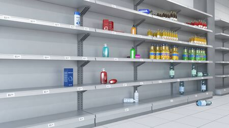 3d render of Empty shelves in the supermarket