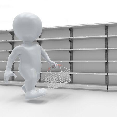 3d render of 3D Morph Man Panic Buying at supermarket