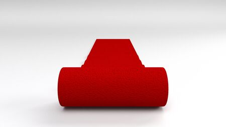 3d render of red carpet on white background
