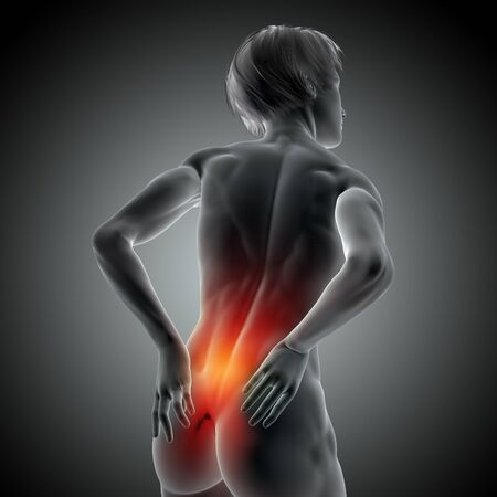 3D render of a medical image with female holding her back in pain