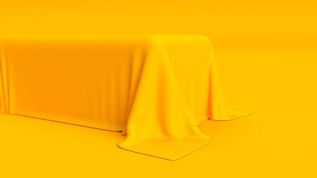 3d render of podium covered in cloth