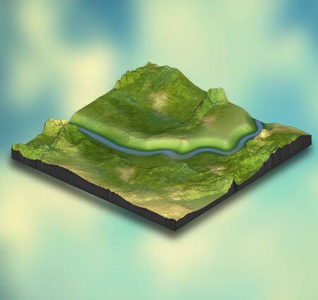 3D render of an abstract isometric landscape design on gradient background Standard-Bild