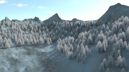 3d render of Snowy winter mountian side 스톡 콘텐츠