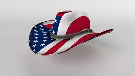 3D Render of Isolated Stetson Hat with American Flag Reklamní fotografie
