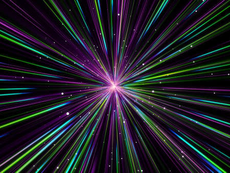 3D render of an abstract background with hyperspace zoom effect