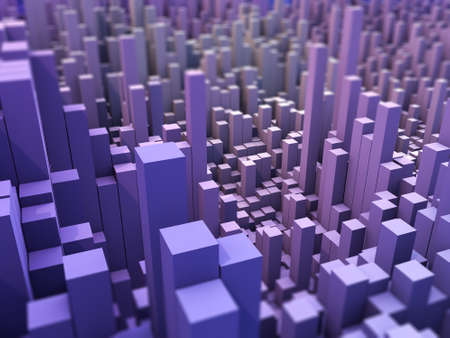 3D render of an abstract landscape background with extruding blocks