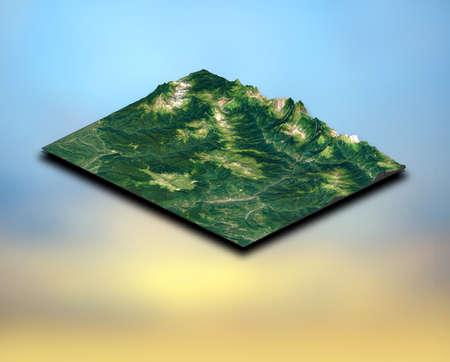 3D render of an isometric landscape terrain 版權商用圖片 - 150856421