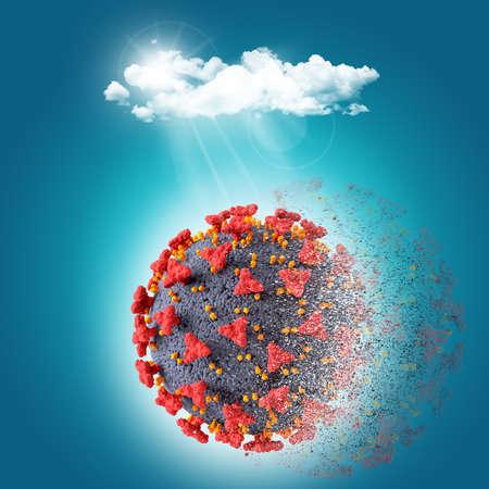 3D render of a Covid 19 virus cell disintegrating under sunlight 版權商用圖片 - 151729148