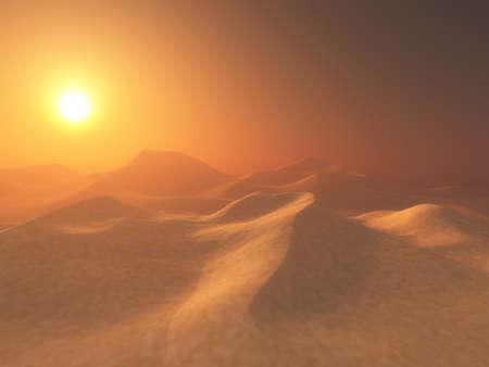 3D render of a hazy desert scene with sunset sky
