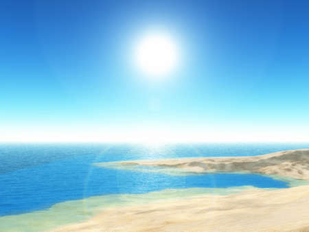 3D render of a tropical beach scene with clear blue sky