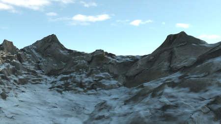 3d render of Snowy winter mountian side 版權商用圖片