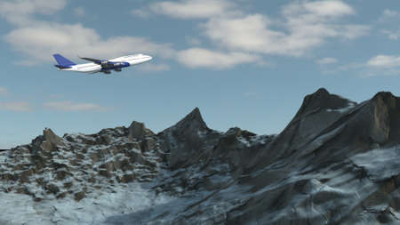 3d render of Airplane isolated on snowy mountain background