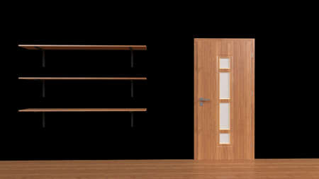 3d render of a set of shelves isolated on wall background 版權商用圖片