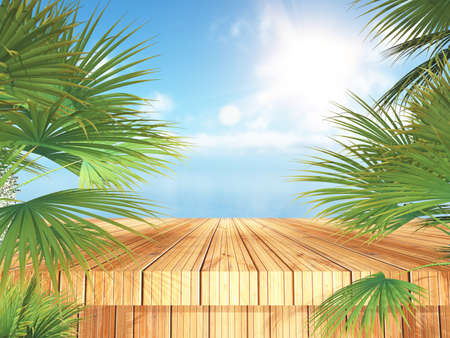 3D render of a tropical landscape with wooden table and palm trees looking out to the ocean 版權商用圖片 - 151729303